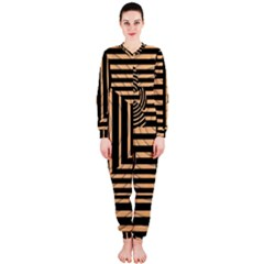 Wooden Pause Play Paws Abstract Oparton Line Roulette Spin Onepiece Jumpsuit (ladies)