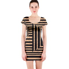 Wooden Pause Play Paws Abstract Oparton Line Roulette Spin Short Sleeve Bodycon Dress