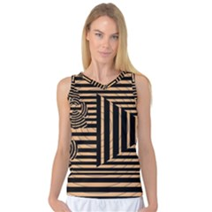 Wooden Pause Play Paws Abstract Oparton Line Roulette Spin Women s Basketball Tank Top
