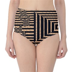 Wooden Pause Play Paws Abstract Oparton Line Roulette Spin High Waist Bikini Bottoms