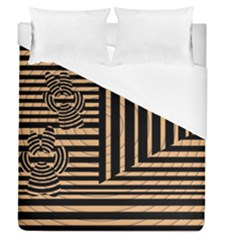 Wooden Pause Play Paws Abstract Oparton Line Roulette Spin Duvet Cover (queen Size)