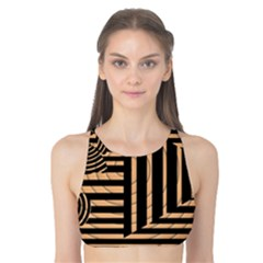 Wooden Pause Play Paws Abstract Oparton Line Roulette Spin Tank Bikini Top