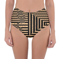 Wooden Pause Play Paws Abstract Oparton Line Roulette Spin Reversible High Waist Bikini Bottoms
