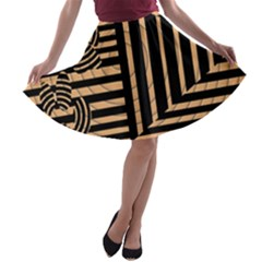 Wooden Pause Play Paws Abstract Oparton Line Roulette Spin A Line Skater Skirt