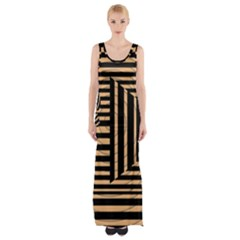 Wooden Pause Play Paws Abstract Oparton Line Roulette Spin Maxi Thigh Split Dress
