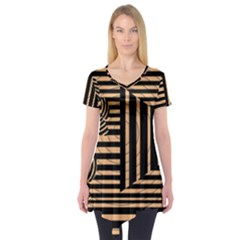 Wooden Pause Play Paws Abstract Oparton Line Roulette Spin Short Sleeve Tunic