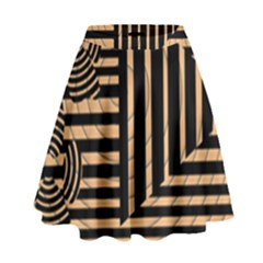 Wooden Pause Play Paws Abstract Oparton Line Roulette Spin High Waist Skirt