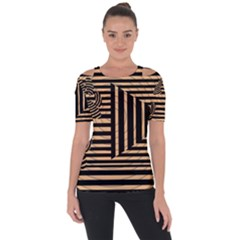 Wooden Pause Play Paws Abstract Oparton Line Roulette Spin Short Sleeve Top