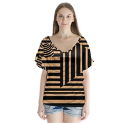 Wooden Pause Play Paws Abstract Oparton Line Roulette Spin Flutter Sleeve Top