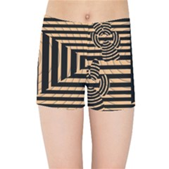 Wooden Pause Play Paws Abstract Oparton Line Roulette Spin Kids Sports Shorts
