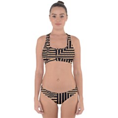 Wooden Pause Play Paws Abstract Oparton Line Roulette Spin Cross Back Hipster Bikini Set