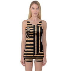 Wooden Pause Play Paws Abstract Oparton Line Roulette Spin One Piece Boyleg Swimsuit