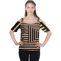 Wooden Pause Play Paws Abstract Oparton Line Roulette Spin Cutout Shoulder Tee