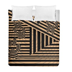 Wooden Pause Play Paws Abstract Oparton Line Roulette Spin Duvet Cover Double Side (full/ Double Size)