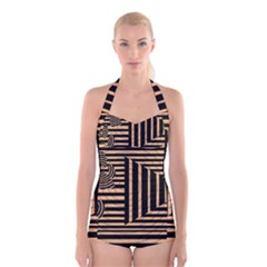 Wooden Pause Play Paws Abstract Oparton Line Roulette Spin Boyleg Halter Swimsuit