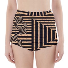 Wooden Pause Play Paws Abstract Oparton Line Roulette Spin High Waisted Bikini Bottoms