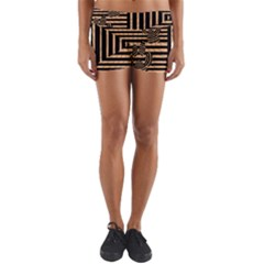 Wooden Pause Play Paws Abstract Oparton Line Roulette Spin Yoga Shorts