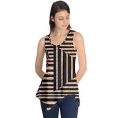 Wooden Pause Play Paws Abstract Oparton Line Roulette Spin Sleeveless Tunic