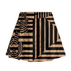 Wooden Pause Play Paws Abstract Oparton Line Roulette Spin Mini Flare Skirt