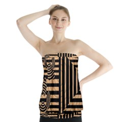 Wooden Pause Play Paws Abstract Oparton Line Roulette Spin Strapless Top