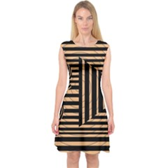 Wooden Pause Play Paws Abstract Oparton Line Roulette Spin Capsleeve Midi Dress