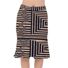 Wooden Pause Play Paws Abstract Oparton Line Roulette Spin Mermaid Skirt