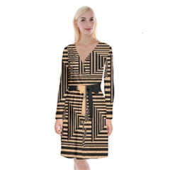 Wooden Pause Play Paws Abstract Oparton Line Roulette Spin Long Sleeve Velvet Front Wrap Dress
