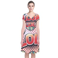 Lol Comic Speech Bubble  Vector Illustration Short Sleeve Front Wrap Dress