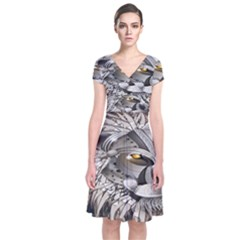 Lion Robot Short Sleeve Front Wrap Dress