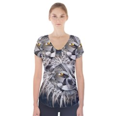 Lion Robot Short Sleeve Front Detail Top