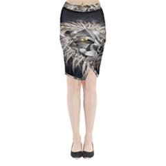 Lion Robot Midi Wrap Pencil Skirt