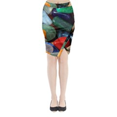 Stones Colors Pattern Pebbles Macro Rocks Midi Wrap Pencil Skirt