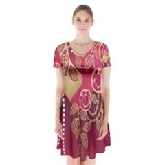 Love Heart Short Sleeve V Neck Flare Dress