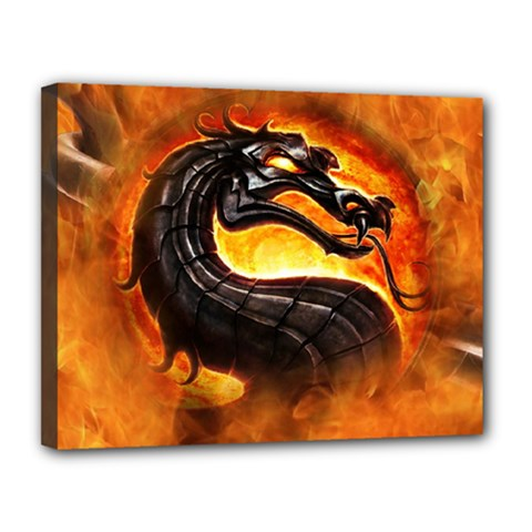 Dragon And Fire Canvas 14  X 11