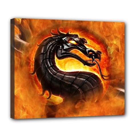 Dragon And Fire Deluxe Canvas 24  X 20