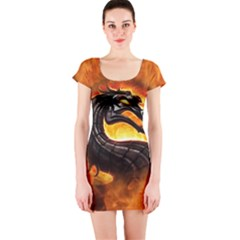 Dragon And Fire Short Sleeve Bodycon Dress