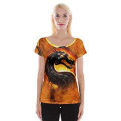 Dragon And Fire Cap Sleeve Tops