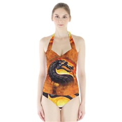 Dragon And Fire Halter Swimsuit