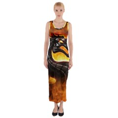 Dragon And Fire Fitted Maxi Dress