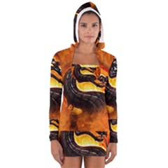 Dragon And Fire Long Sleeve Hooded T Shirt