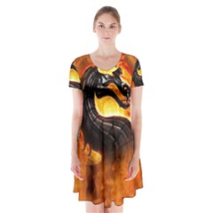 Dragon And Fire Short Sleeve V Neck Flare Dress