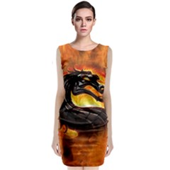 Dragon And Fire Classic Sleeveless Midi Dress