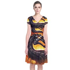 Dragon And Fire Short Sleeve Front Wrap Dress