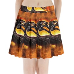Dragon And Fire Pleated Mini Skirt
