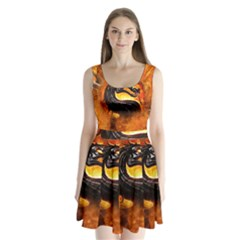 Dragon And Fire Split Back Mini Dress