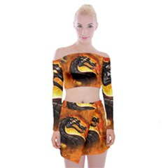 Dragon And Fire Off Shoulder Top With Skirt Set
