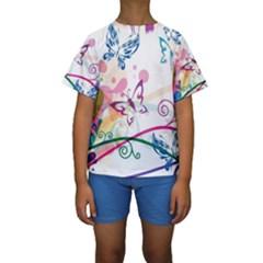 Butterfly Vector Art Kids  Short Sleeve Swimwear