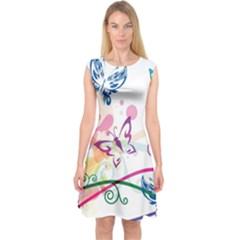 Butterfly Vector Art Capsleeve Midi Dress