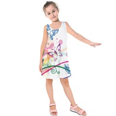 Butterfly Vector Art Kids  Sleeveless Dress