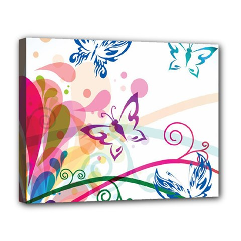 Butterfly Vector Art Canvas 14  X 11